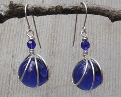 Cobalt Blue Glass Marble Earrings  Sterling by nicholasandfelice, $18.50