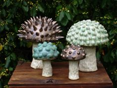 Clay mushrooms from Golf Creek Pottery