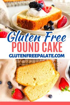 A sweet, buttery gluten free pound cake that has the perfect crumb texture. This gluten free pound cake recipe is simple to make and is perfect topped with fresh whipped cream and berries. Gluten Free Pound Cake, Gluten Free Cupcakes, Pound Cake Recipes, Gluten Free Sweets, Gluten Free Baking, Easy No Bake Desserts, Dessert Recipes, Angel Food Cake Desserts, Birthday Desserts