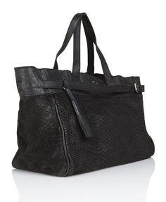 Sale - Ikks Clothes shop online for WOMEN - The Soldier Reptile-print Leather Tote Bag Black | Place des Tendances