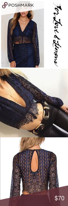 FOR LOVE & LEMONS Lyla Crop Top Beautiful lace crop top, NWT. Missing back closure button but could be easily replaced or safety pinned. For Love and Lemons Tops