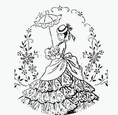 Free Redwork Patterns to Print | Hand Embroidery Pattern 5264 Victorian Lady for Pillow Cases 1940s