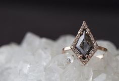 Natural Rose Cut Black Geometric Diamond Ring with Pavé Halo