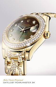 714d63d67cb Rolex Datejust Special Edition 34 mm in 18 ct yellow gold with a  diamond-set bezel