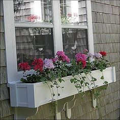 We have a huge selection of self-watering PVC window boxes. Our no rot PVC window boxes and window planters are on sale and ship fully assembled. All our flower boxes come in white but can be painted. Wrought Iron Window Boxes, Window Box Brackets, White Planter Boxes, White Planters, Balcony Planters, Window Planter Boxes, Hanging Planters, Window Sill, Window Box Flowers