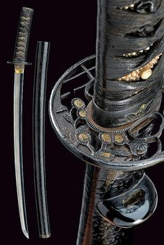 Description: A wakizashi dating: 16th Century provenance: Japan Suriage blade (nagasa 51,4 cm) with nioideki Hamon Gunome-notare, visible hada; mumei, nakago with two mekugi-ana; copper habaki; pierced, iron tsuba, with flowers and nets; antique koshirae, shakudo fuchi-kashira with floral decorations (mei) featuring gilt elements, menuki depicting cranes; saya of kawarinuri lacquer.Late Muromachi period. Complete with NTHK certificate. dimensions: length 69 cm.