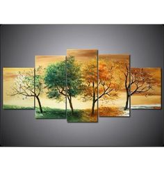 home decor balls on sale at reasonable prices, buy Handmade 4 Season Wall Art Tree Wall Painting Picture Oil Modern Abstract 5 Panel Canvas Art Living Room Home Decorations from mobile site on Aliexpress Now! Modern Art Paintings, Classic Paintings, Nature Paintings, Modern Wall Art, Oil Paintings, Abstract Paintings, 5 Panel Wall Art, Canvas Wall Art, Blank Canvas