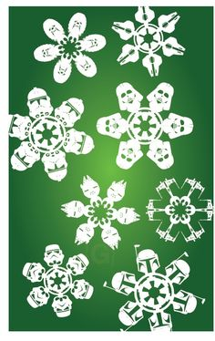 Do It Yourself Star Wars Paper Snowflakes Star Wars Snowflakes, Snowflake Cutouts, Snowflake Template, Snowflake Craft, Paper Snowflakes, Snowflake Designs, Snowflake Pattern, Geek Crafts, Fun Crafts