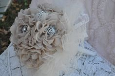 Wedding bouquet for your Country, rustic or shabby chic wedding by HarveyGirlStyle on Etsy, $150.  www.etsy/shop/harveygirlstyle  Burlap,lace,tulle,buttons,brooches,rhinestones, wedding,bouquet,bride