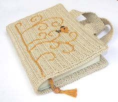 Crochet Book Cover with Bird, Carry Book Cover, Bible Cover, Beige Orange, Bookmark,Christmas Gift, Gift for her, Ready to ship