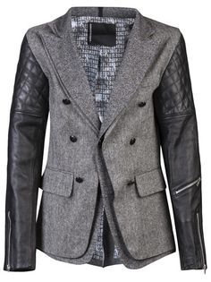 SONS OF HEROES Men's Tweed and Cotton Blazer with Biker Jacket Leather Sleeves for Winter 2013.