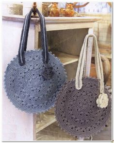 Crochet Knitting Handicraft: ROUND HANDBAG