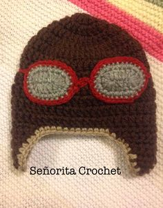 Sur commande Aviator Hat Inspired by Repeat Crafter me Señorita Crochet