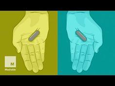 手に持ったカプセル、赤に見える? それとも青に見える?うっかり騙されちゃう脳の誤作動にロックオン : カラパイア