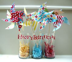 love these colorful pinwheels, perfect for decorating the gift table.