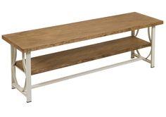 Mesa de televisión Nevada, elaborada en hierro y madera. Estupenda mesa de televisión con patas de hierro forjado lacadas en color beige y doble tablero de madera de abeto en tono natura