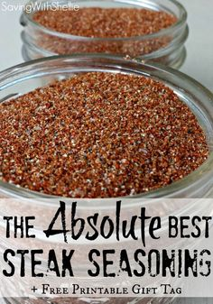 Try this recipe for our family's FAVORITE steak seasoning. We call it Magic Rub! Plus there's also a printable tag for easy gifting. Dry Rub Recipes, Steak Recipes, Cooking Recipes, Spice Rub, Spice Mixes, Spice Blends, Homemade Spices, Homemade Seasonings, Homemade Vanilla
