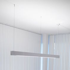 Marc 2 Light Linear Suspension -- flourescent, may be a model with a dimmable… Office Lighting, Dining Room Lighting, Modern Lighting, Lighting Design, Lighting Ideas, Linear Pendant Lighting, Suspended Lighting, Indirect Lighting, My Ideal Home