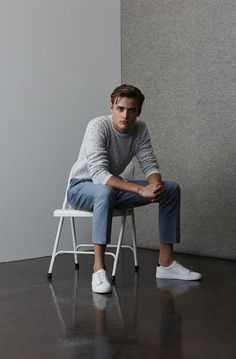 In need of a definitive wardrobe refresh? Break from tradition and swap navy blue for a more icy pale shade. Stylish Mens Outfits, Basic Outfits, Business Dress, Cute White Boys, Men Photoshoot, Photography Poses For Men, Mens Fashion, Fashion Outfits, European Fashion
