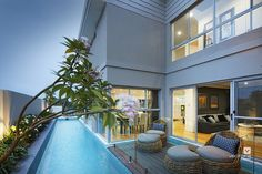 Alfresco patio backyard design. The Monterosso double storey display home by #VenturaHomes with a #swimming pool