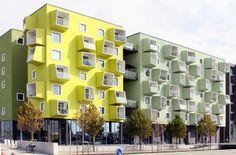 Ørestad Plejecenter / Senior Housing, by JJW Arkitekter (Asli Aydin) Colour Architecture, Unique Architecture, Facade Architecture, Modern Buildings, Beautiful Buildings, Arch House, Social Housing, Building Exterior, Facade Design