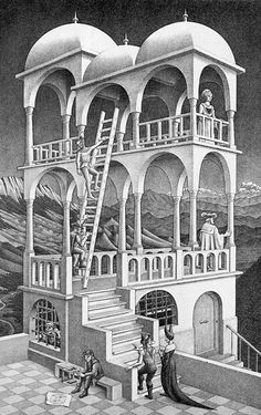 "m.c. escher / ""belvedere"" 1958 / One of my favourite artists. I love his physical and mathematical explorations in art, as well as his intense drawing ability."