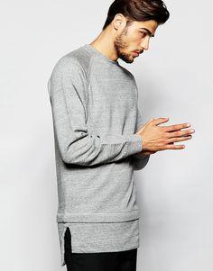 Image 1 ofADPT Longline Sweatshirt with Raglan Sleeves