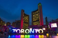 "3D interactive ""TORONTO"" sign installed at Nathan Phillips Square for the Pan Am and Parapan Am Games as an ongoing tourist attraction. #SeeTorontoNow #WhyHB"
