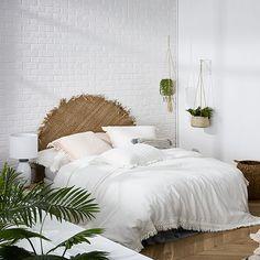 European Collection Boheme Fringe White Quilt Cover