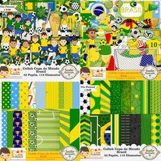 Collab Copa do Mundo Brasil com Armazém Criativo, Taça, Seleção Canarinho, Bola, Futebol, Soccer, Ball, Pelota, Troféu, Papéis, Elementos, Kit Digital, Papers, Elements, Digital Kit, Fútbol, World Cup, Fifa