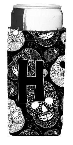 Letter H Day of the Dead Skulls Black Ultra Beverage Insulators for slim cans CJ2008-HMUK