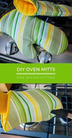Oven mitt free sewing pattern | pot holders | hot pads | #freesewingpattern #sewingpatterns #sewing #giftideas #diygifts