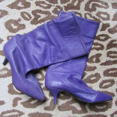 Purple Leather Boots London 80s Rocker by VintageGothShop on Etsy