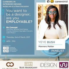 #Repost @careersinid with @repostapp  We are extremely excited to announce Yeye Bush of @MannersMatter_ as one of our distinguished panelist at #CID2017  #GetHired!  --- Yeye Bush is a UK certified Etiquette Consultant from the International Etiquette and Protocol Academy of London. She is passionate about helping her clients BE THE BEST always and thus established Manners Matter @MannersMatter_ng an Etiquette Consultancy. Her clients have included individuals as well as corporate bodies…