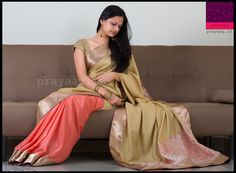 Coral and gold saree