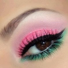 Shimmery pink and green eye shadow