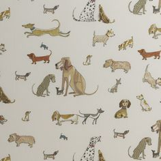 DOGS ON PARADE BY DOMENICA MORE GORDON Hand embroidered fabric for Chelsea Textiles