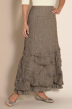 Vivian Skirt - Glen Plaid Skirt, Crinkled Skirt, Pleated Skirt, Elastic Waist Skirt   Soft Surroundings
