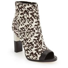 """Calvin Klein 'Krizia' Peep Toe Bootie, 4"""" heel ($240) ❤ liked on Polyvore featuring shoes, boots, ankle booties, ankle boots, leopard print calf hair, leopard print booties, peep-toe ankle booties, open toe bootie and leopard booties"""