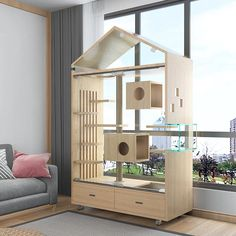Hotel Gato, Cat Hotel, Cage Chat, Cat Cages Indoor, Cool Cat Beds, Wooden Cat House, Puppy House, Wood Cat, Cat Enclosure
