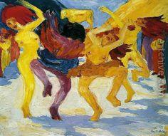Dance Around the Golden Calf Emil Nolde (German, Expressionism, Emil Nolde, Karl Schmidt Rottluff, Golden Calf, Ernst Ludwig Kirchner, Dance Paintings, Watercolor Paintings, Expressionist Artists, Edvard Munch, Art History