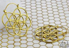 Solid brass flower of life hoop earrings