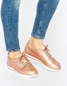 Nike Cortez Trainers In Rose Gold Metallic Leather