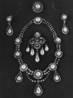 """thestandrewknot: """" Queen Louise of Denmark's Diamond and Pearl Demi-Parure, a wedding gift from the Khedive of Egypt (1869), and Princess Louise of the Netherlands's Brooch. """""""
