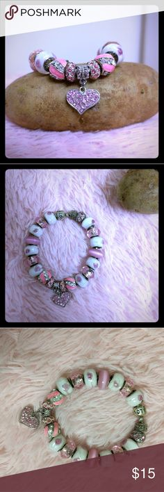 Charm Bracelet ❤️ Pandora like charm bracelet, full of girly charms with roses, hearts and bling. Makes a cute gift. Model: Haute Potato 🥔 Jewelry Bracelets