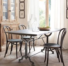 "Factory Zinc & Cast Iron Dining Tables | All Rectangular Tables | Restoration Hardware | not an extension table but largest (92""L x 34""W x 30""H) seats about 8"