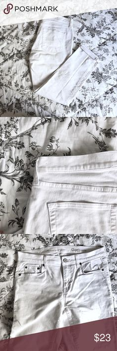 Gap white jeans (straight cut) In great condition except for these tinyyyy stains (I've offered close ups so you can see just how tiny the stains are)  A year-round staple, especially for the spring and summer!   Price is negotiable of course GAP Jeans Straight Leg