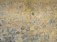 Les Reines de France, 1995. Emulsion, acrylic, sunflower seeds, photographs, woodcut, goldleaf, and cardboard on canvas, three panels, 18 feet 4 1/2 inches x 24 feet 2 1/2 inches (560.1 x 737.9 cm) overall. Solomon R. Guggenheim Museum, New York,Anonymous Gift 97.4558. © Anselm Kiefer