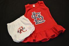 St. Louis Cardinals Appliquéd Girls Dress. $29.50, via Etsy.
