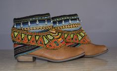 ETHNIC, HIPPIE, BOHO boots, Tribal, Gypsy, Women, Multicolor Boots, Bohemian Boots